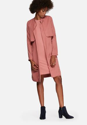 Y.A.S Aura Loose Trench Coat Dusty Pink