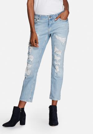 Noisy May Scarlet Destroy Jeans Light Denim Wash