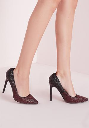 Missguided Ombre Glitter Court Shoes Heels Oxblood & Black