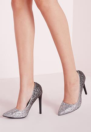 Missguided Ombre Glitter Court Shoes Heels Silver & Black
