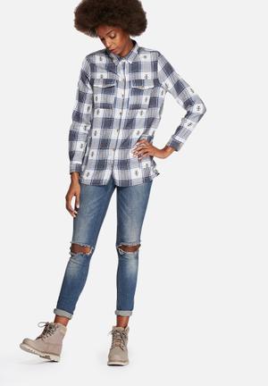 Vero Moda Thelma Checked Shirt Ombre Blue
