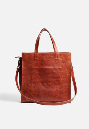 FSP Collection Director Leather Tote Bags & Purses Cognac Hennasey