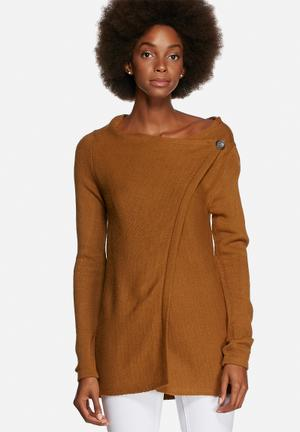 ONLY Delight Button Cardigan Knitwear Golden Brown