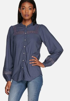 ONLY Clotilda Bell Sleeve Shirt Navy