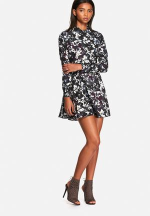 Neon Rose Springs Colared Dress Casual Black Multi