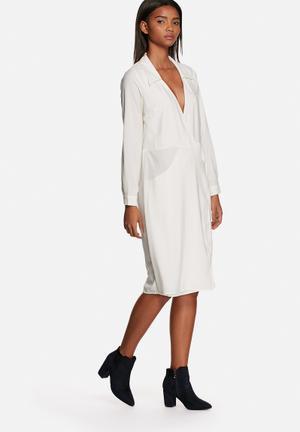 Neon Rose 70's Wrap Dress Formal White
