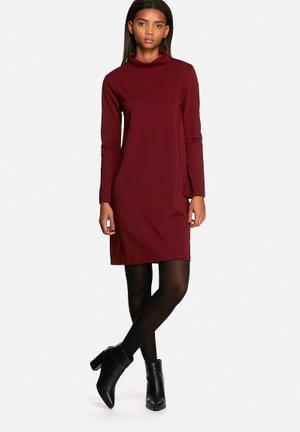 Neon Rose Flared Polo Neck Dress Formal Burgundy