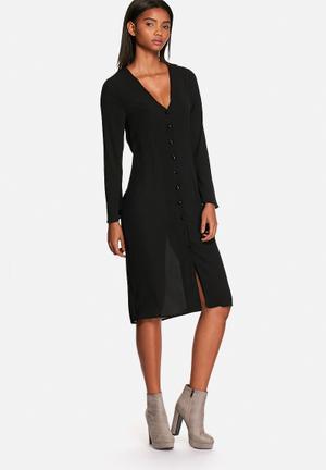 Neon Rose Flared Sleeve Midi Dress Formal Black