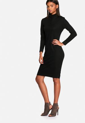 Neon Rose Button Ribbed Polo Midi Dress Formal Black