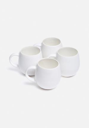 Urchin Art Set Of 4 Bubble Mugs White