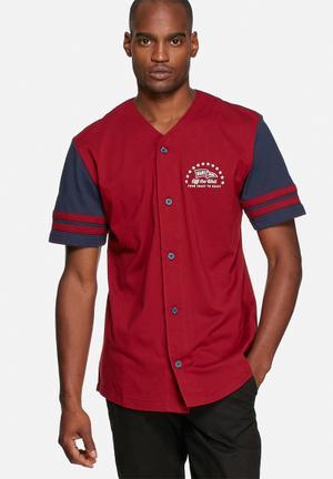 Vans Slider T-Shirts & Vests Maroon & Navy