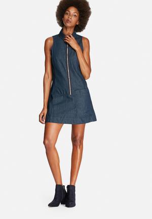 G-Star RAW Blake Sleeveless Zip Dress Casual Blue Denim