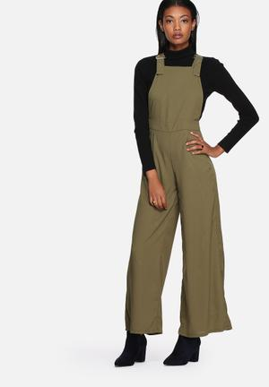 Lola May Buckle Detail Wide Leg Dungarees Jumpsuits & Playsuits Khaki