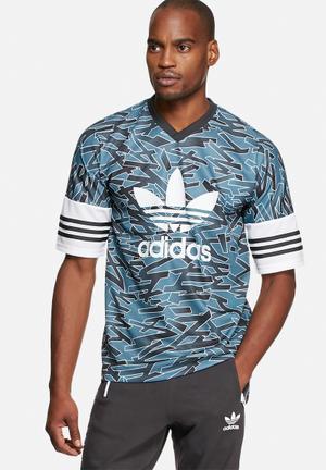 Adidas Originals Shatter Stripe AOP Jersey T-Shirts Blue