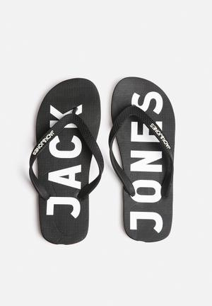 Jack & Jones Footwear & Accessories Logo Rubber Sandals & Flip Flops Black