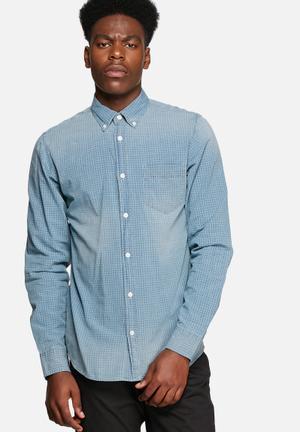 Jack & Jones Originals Crew Slim Shirt Blue Denim