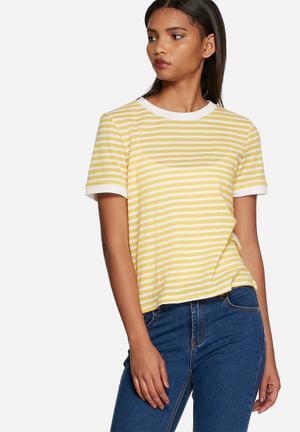 Glamorous Stripe Tee T-Shirts, Vests & Camis Yellow & White