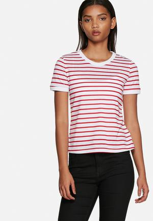 Glamorous Red Stripe Tee T-Shirts, Vests & Camis Red & White