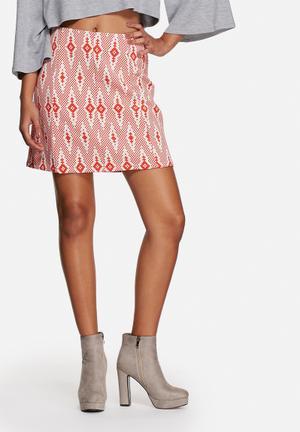 Glamorous Aztec Skirt Red & White