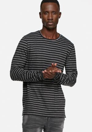Basicthread Stripe Long Sleeve Tee T-Shirts & Vests Grey