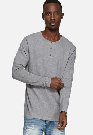 Basicthread Henley Tee T-Shirts & Vests Grey Melange