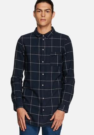 Another Influence Longline Flannel Shirt Navy
