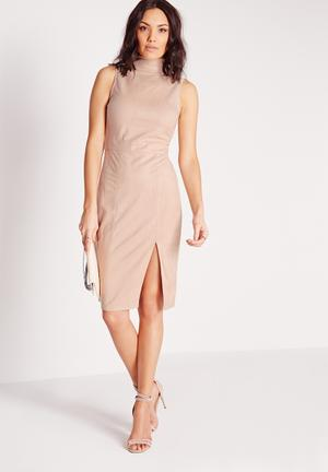 Missguided Faux Suede High Neck Midi Dress Occasion Nude