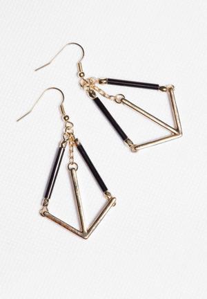 Glamorous Arrow Earings Jewellery Black & Gold