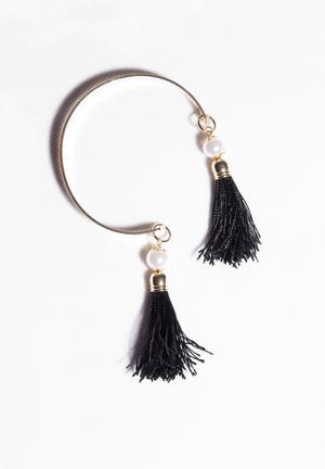Glamorous Tassel Bracelet Jewellery Gold & Black