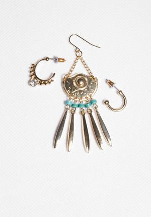 Glamorous Earrings Mix And Match Set Jewellery Gold & Turquoise