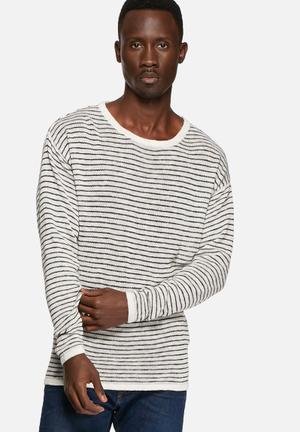 Selected Homme Soho Stripe Pullover Knitwear Egret