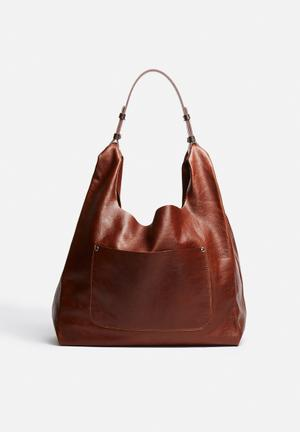 FSP Collection Cassie Leather Hobo Bags & Purses Cognac