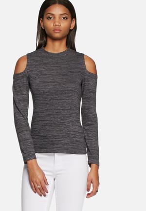 Dailyfriday Cold Shoulder Top T-Shirts, Vests & Camis Grey