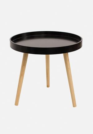 Eleven Past Tripod Side Table Sprayed MDF Top, Wooden Legs