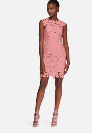 Glamorous Embroidered Floral Dress Occasion Dusty Pink