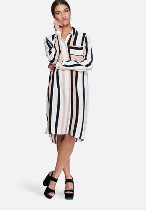 VILA Veritcal Shirt Dress Formal Pale Pink