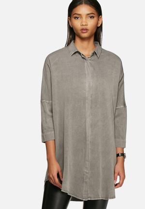 VILA Calla Shirt Medium Grey Melange