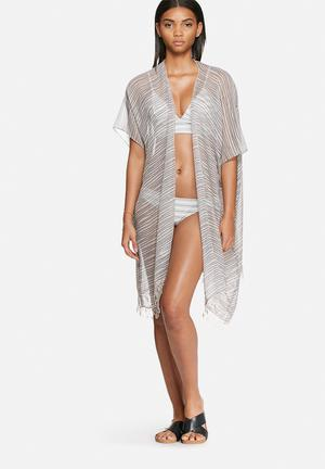 Vero Moda Stripe Poncho Swimwear White & Navy