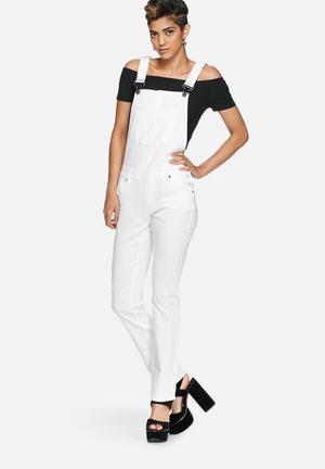 Noisy May Sasha Denim Dungaree Jeans White