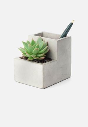 Kikkerland Concrete Desktop Planter Organisers & Storage Concrete
