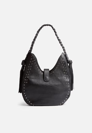 FSP Collection Large Leather Studded Bag Black