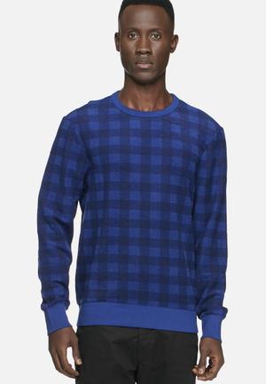 Ben Sherman Carnaby Gingham Sweat Knitwear Blue
