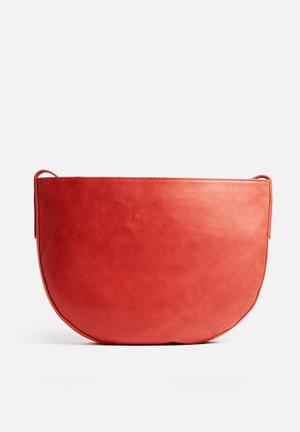 FSP Collection Jayd Leather Halfmoon Bag Red