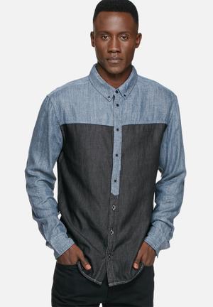 GUESS Contrast Shirt Blue & Black