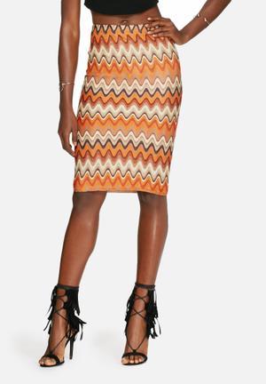 Glamorous Knit Skirt Orange, Brown & Cream