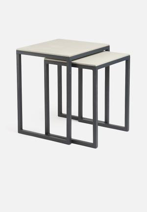 Sixth Floor Concrete Nesting Tables Concrete Top & Metal Base
