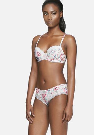 Marie Meili Dania Hipsters Panties Ivory, Pink  & Green