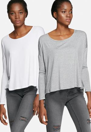 Dailyfriday Round Neck Top - 2 Pack T-Shirts, Vests & Camis White & Grey