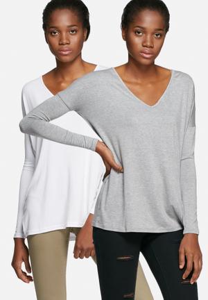 Dailyfriday Basic V-neck Top - 2 Pack T-Shirts, Vests & Camis Grey & White