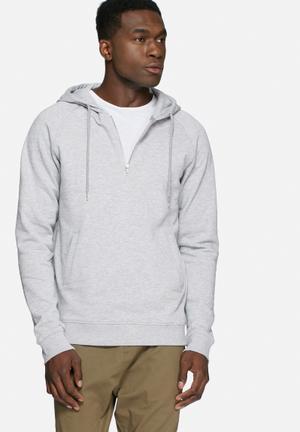 Basicthread 1/4 Zip Hoodie Hoodies & Sweatshirts Grey Melange